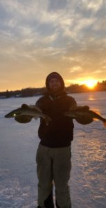Guided ice fishing walleye Michigan